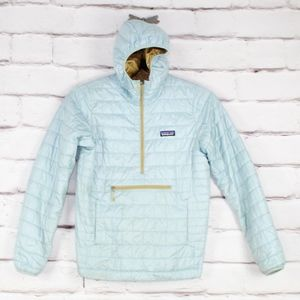 Patagonia Pullover Hooded Light Blue Jacket Size M